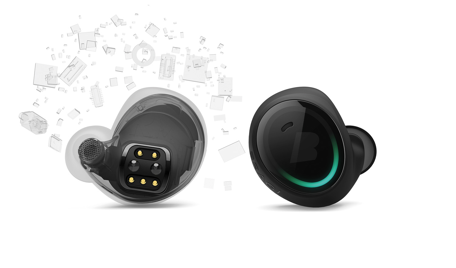 Black Bragi wireless headphones